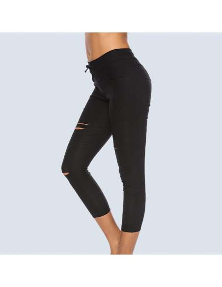 Black Ripped Leggings with Pockets (Side View)