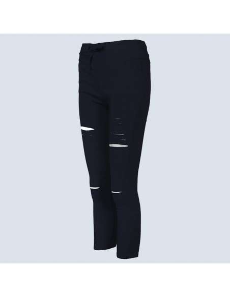 Black Ripped Leggings with Pockets (Front)