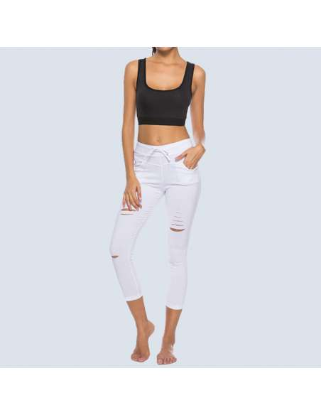 White Ripped Leggings with Pockets (Front View)