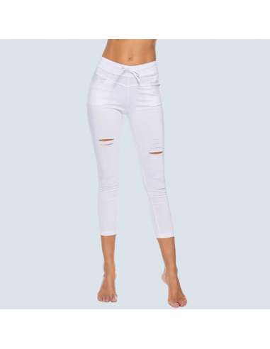 White Ripped Leggings with Pockets (Front)