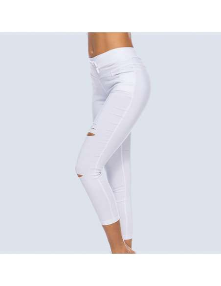 White Ripped Leggings with Pockets (Side)