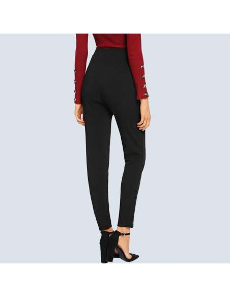 Women's Black Stretch Work Pants with Pockets (Back View)