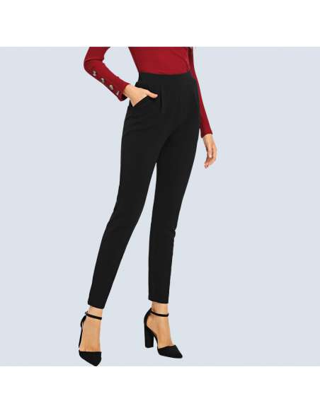 Women's Black Stretch Work Pants with Pockets
