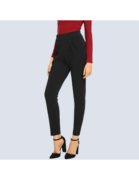 Women's Black Stretch Work Pants with Pockets (Front View)