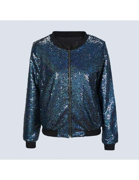 Blue Sequin Bomber Jacket with Pockets (Front)