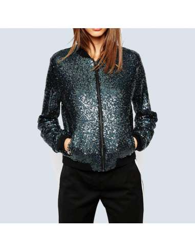 Blue Sequin Bomber Jacket with Pockets