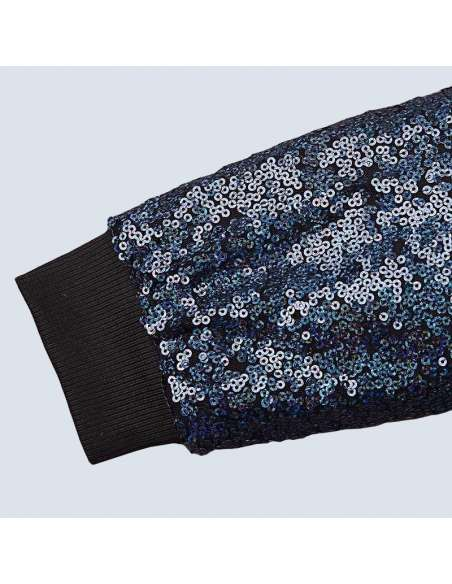 Blue Sequin Bomber Jacket with Pockets (Cuff Closeup)