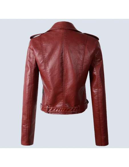 Crimson Red Faux Leather Moto Jacket with Pockets (Back View)