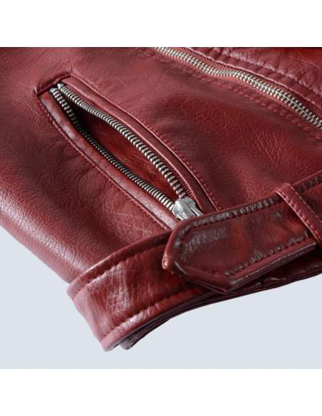 Crimson Red Faux Leather Moto Jacket with Pockets (Closeup)