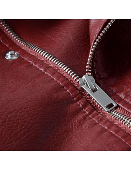Crimson Red Faux Leather Moto Jacket with Pockets (Detail)