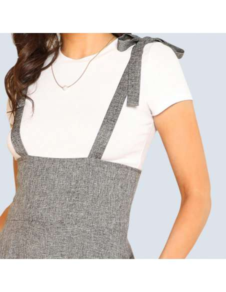 Gray Wide Leg Suspender Jumpsuit with Pockets (Closeup)