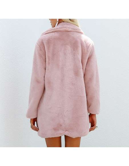 Women's Pink Fluffy Faux Fur Jacket with Pockets (Back View)