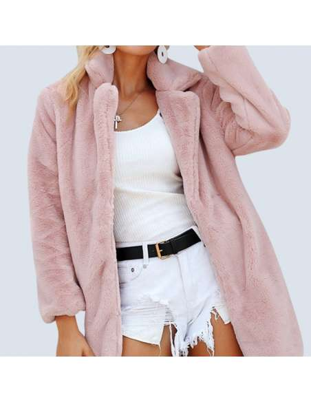 Women's Pink Fluffy Faux Fur Jacket with Pockets (Front View)