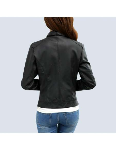 Women's Black Faux Leather Biker Jacket with Pockets (Back View)