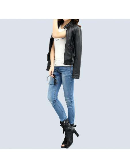 Women's Black Faux Leather Biker Jacket with Pockets (Front View)
