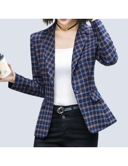 Women's Blue Plaid Blazer with Pockets (Front)