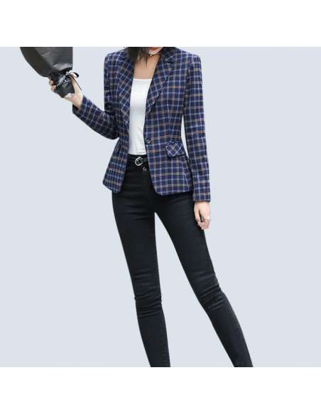 Women's Blue Plaid Blazer with Pockets (Front View)