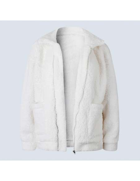 Women's White Oversized Fleece Jacket with Pockets (Front)