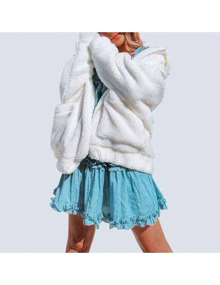 Women's White Oversized Fleece Jacket with Pockets (Front View)