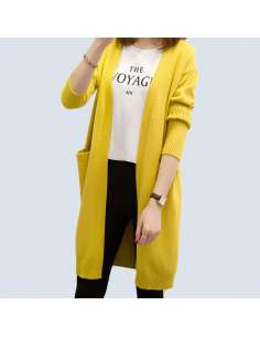 Women's Yellow Long Open Front Cardigan