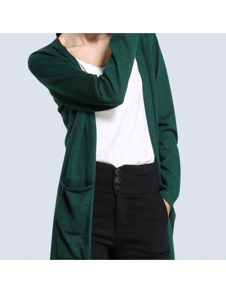 Women's Green Long Cashmere Cardigan with Pockets (Midshot)
