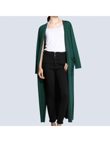 Women's Green Long Cashmere Cardigan with Pockets (Front)