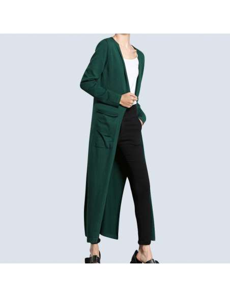 Women's Green Long Cashmere Cardigan with Pockets (Front View)