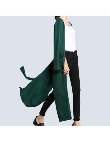 Women's Green Long Cashmere Cardigan with Pockets