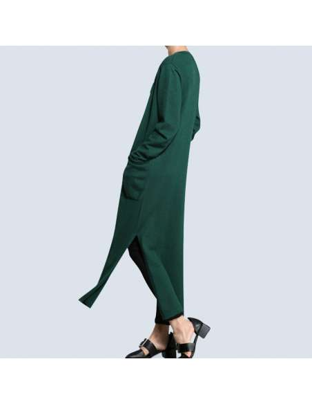 Women's Green Long Cashmere Cardigan with Pockets (Side View)