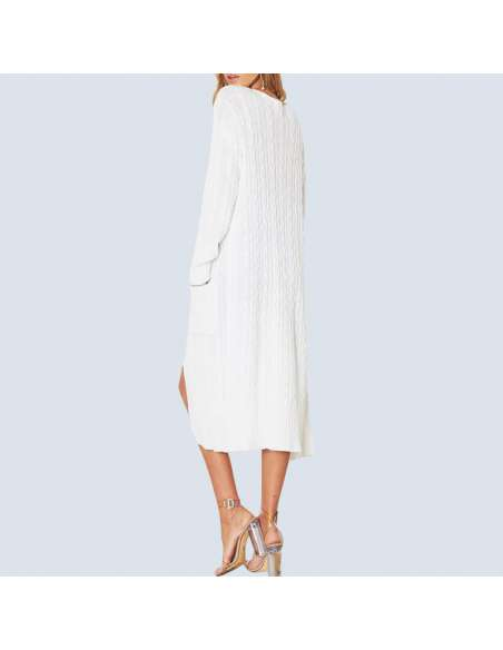 Women's White Long Cable Knit Cardigan with Pockets (Back View)