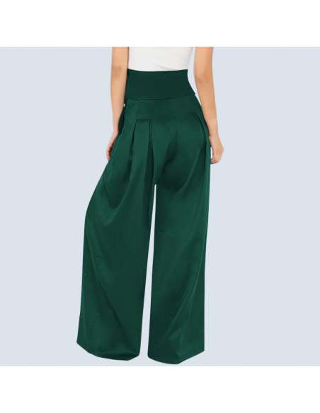 Women's Green High-Waisted Palazzo Pants with Pockets (Back View)