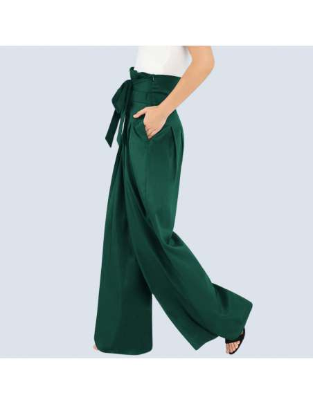 Women's Green High-Waisted Palazzo Pants with Pockets (Side View)