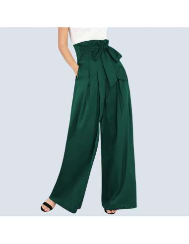 Women's Green High-Waisted Palazzo Pants with Pockets