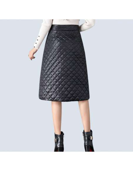 Black Quilted Skirt with Pockets (Back)