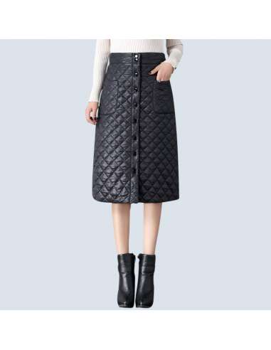 Black Quilted Skirt with Pockets