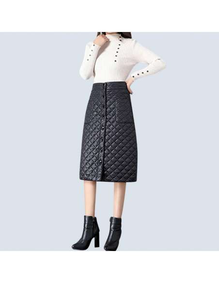 Black Quilted Skirt with Pockets (Front View)