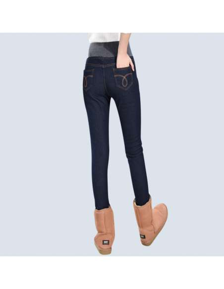 Navy Blue Fleece-Lined Jeggings with Pockets (Back View)