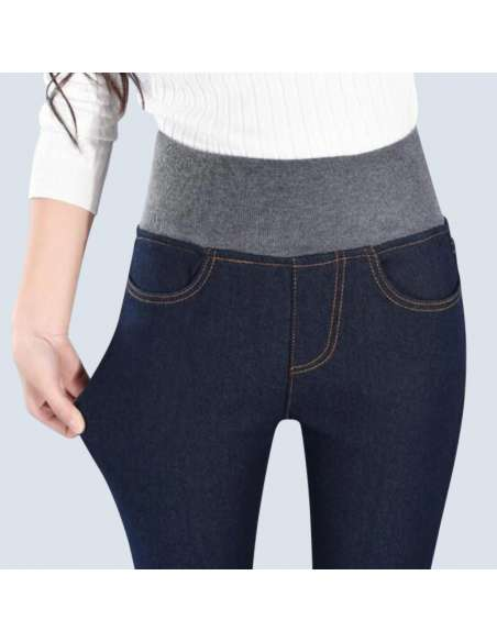 Navy Blue Fleece-Lined Jeggings with Pockets (Front Closeup)