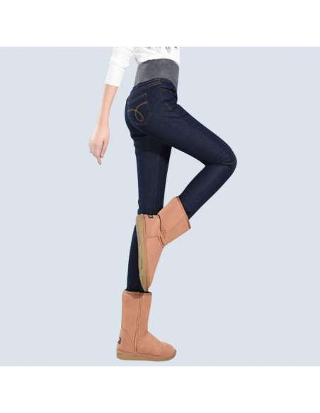 Navy Blue Fleece-Lined Jeggings with Pockets (Side View)
