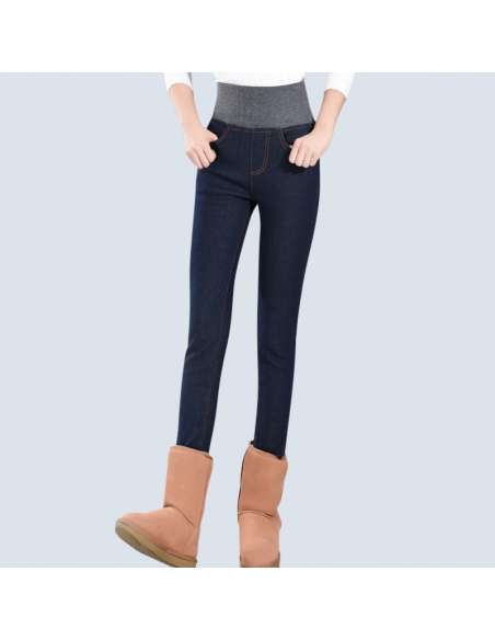 Navy Blue Fleece-Lined Jeggings with Pockets (Front View)
