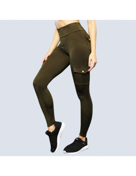 Green Cargo Pant Leggings with Pockets