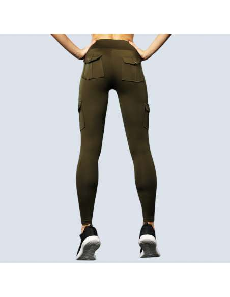 Green Cargo Pant Leggings with Pockets (Back View)