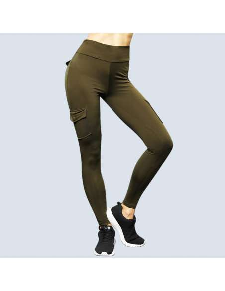 Green Cargo Pant Leggings with Pockets (Front View)