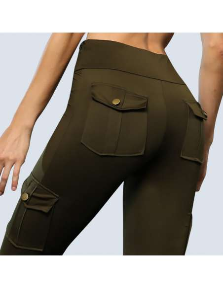 Green Cargo Pant Leggings with Pockets (Back Closeup)