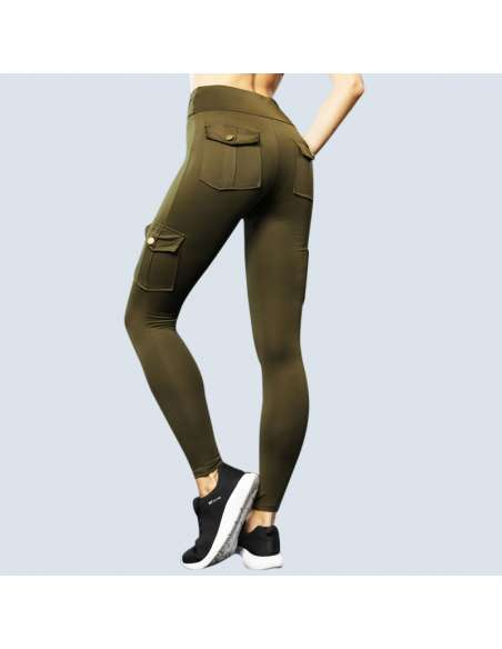Green Cargo Pant Leggings with Pockets (Back)