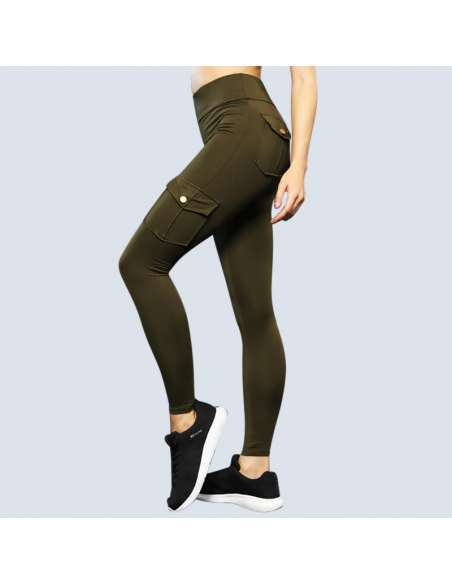 Green Cargo Pant Leggings with Pockets (Side View)