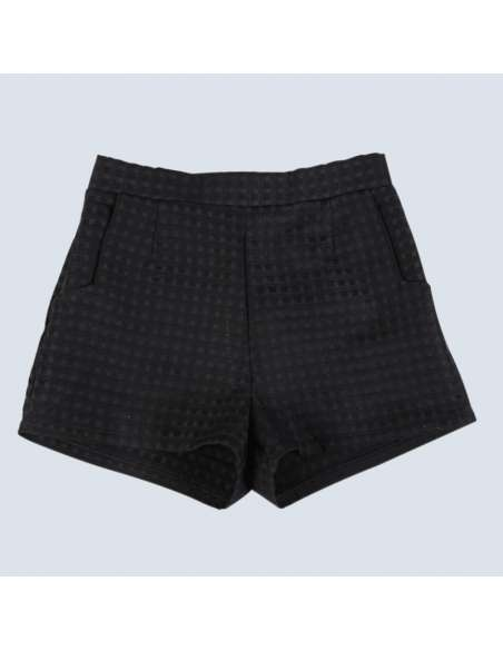 Women's Black Embossed Check Shorts with Pockets (Front)