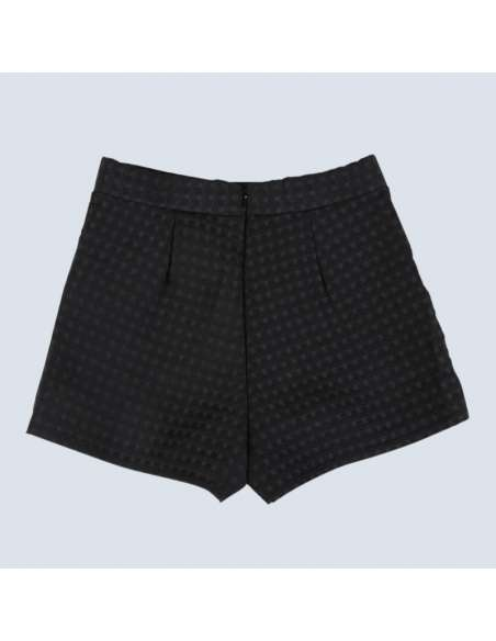 Women's Black Embossed Check Shorts with Pockets (Back)