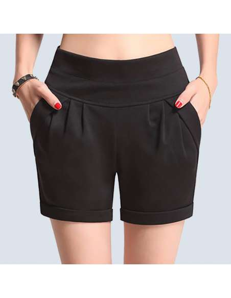 Women's Black High-Waisted Shorts with Pockets (Front Closeup)