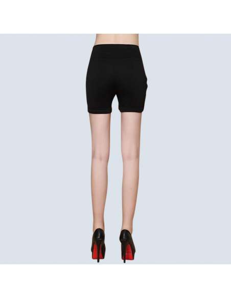 Women's Black High-Waisted Shorts with Pockets (Back View)